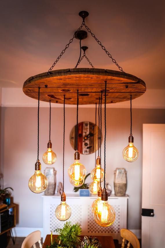 Rustic Cable Reel Chandelier Wooden Ceiling Feature Light Pendant
