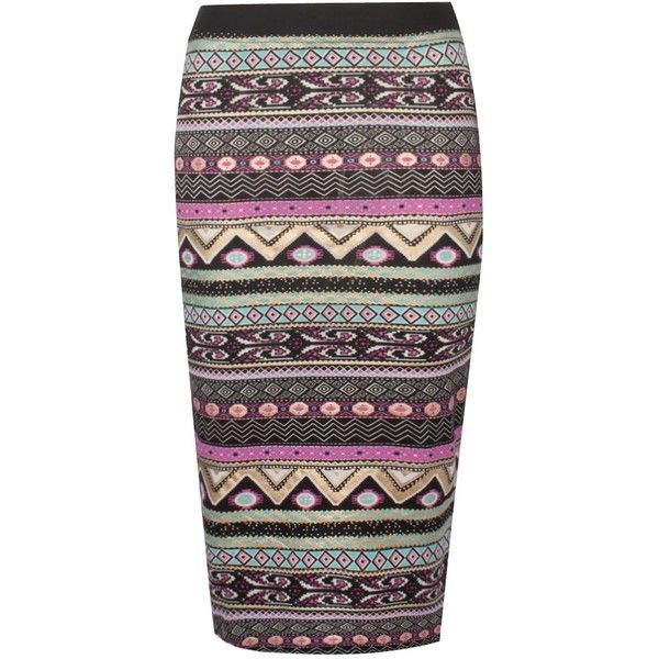 Black/Pink Aztec Midi Skirt (800 RUB) ❤ liked on Polyvore featuring skirts, mid calf skirts, pink skirt, aztec print skirt, calf length skirts and pink midi skirt