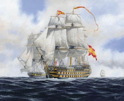 """""""Reina Luisa""""     Considerado el mejor tres puentes de la Real Armada el  fue en verdad un soberbio navío de primera clase y 112 cañones -Carlos Parrilla"""