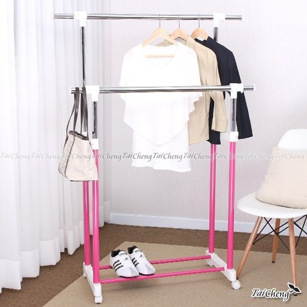 [MIT]Macaron Color Double Layer Hanger Adjustable Rack Clothes Storage