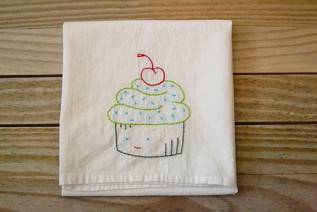 Embroidery on plain dish towels cute idea crafts diy