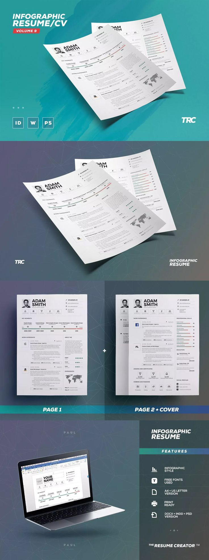 Resume Templates Infographic ResumeCv Template INDD