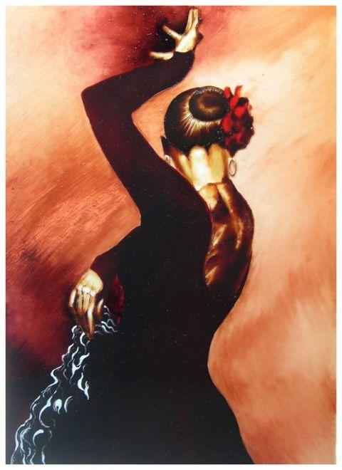 Andalúz táncos IV. - festett üvegkép, exkluzív üvegfestmény www.asterglass.hu Burján Eszter 'Aster' üvegfestő művész
