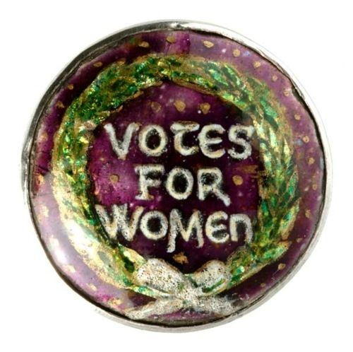 1908-12 Enameled brooch in Suffragette colours made by the artist and enamelist Ernestine Mills via Badge: Museum of London