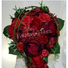 Bridal bouquet draining red dark red burgundy waterfall teardrop shape  – Hochzeit