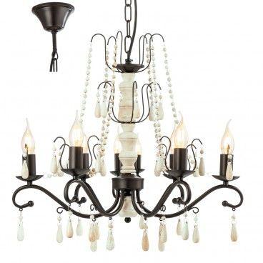 8 ramienny żyrandol w stylu vintage Chattisham z elementami drewnianymi do jadalni nad stół salonu sypialni - LampyTanie - 769,90 PLN