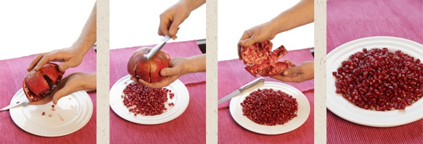 step-by-step how to open a pomegranate