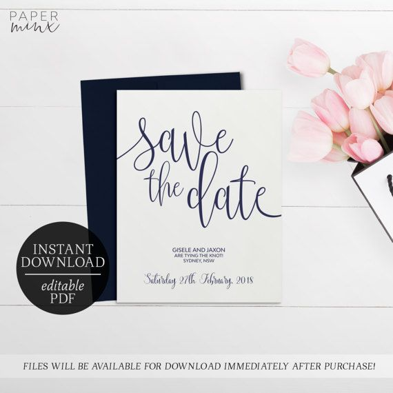 Printable Save The Date Calligraphy Invitation  Editable