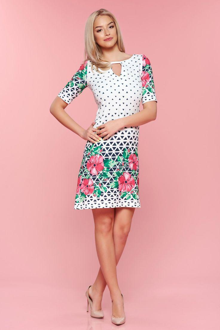 Comanda online, Rochie cu imprimeuri grafice LaDonna rosa cu croi larg. Articole masurate, calitate garantata!