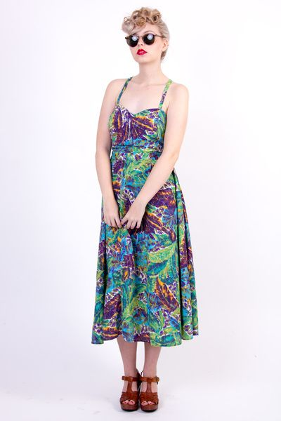 Tropical vintage dress 14/42 hawaii exotic  w Vintage For Ever  na DaWanda.com