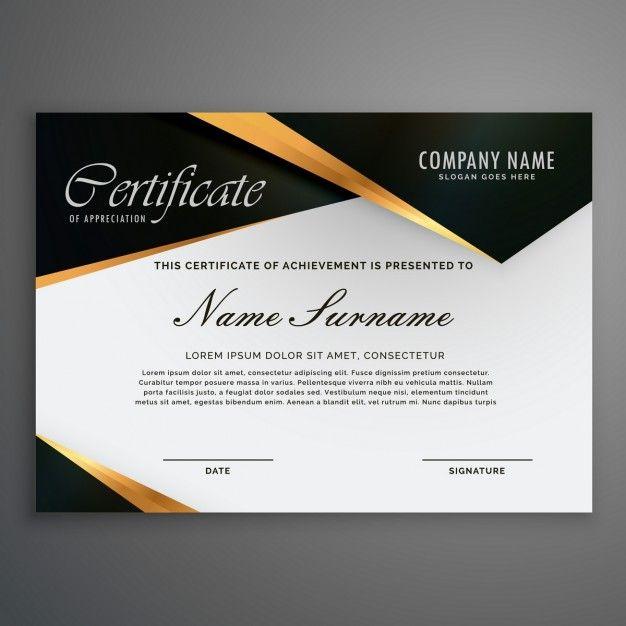 Certificado decorado con figuras negras y líneas de oro del vector gratuito