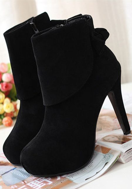 Women's revers bowknot side zipper round toe suede high heels ankle boots online - vessos.com