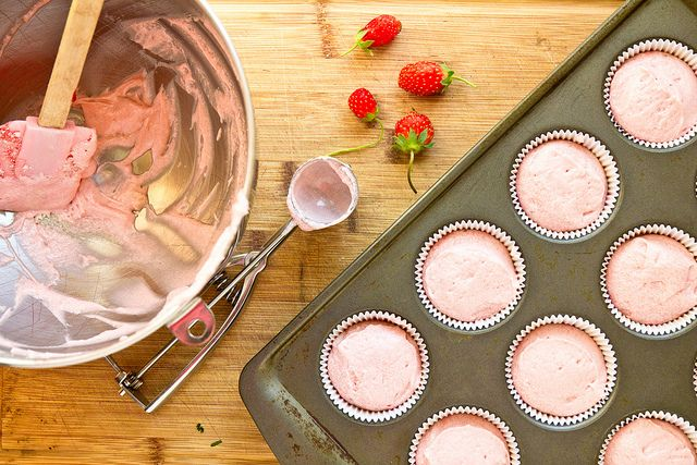 Fresh Strawberry Cupcakes by foodiebride: Completely-from-scratch strawberry cake without Yellow No. 5 and Red No. 6...just strawberries! #Cake #Strawberry