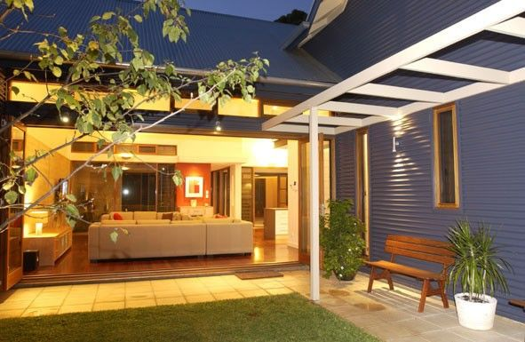 'Next - You're Home' demonstration home features steel roofing and wall cladding made from COLORBOND® steel in the colour Deep Ocean®, reminiscent of the South Australia's heritage 'bluestone' architecture.