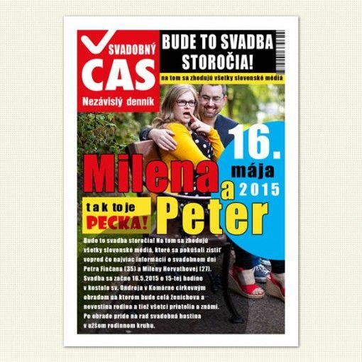 """Svadobné oznámenie """"Svadobný čas"""" je netradičné a originálne svadobné oznámenie, ktoré vyzerá ako titulná strana známeho slovenského denníka. Buďte jedinečný a oznámte svoju svadbu s humorom a originálne."""