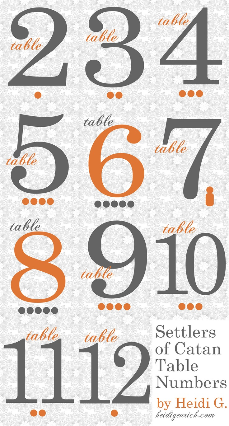 Settlers of Catan table numbers. AND it's orange. What?!