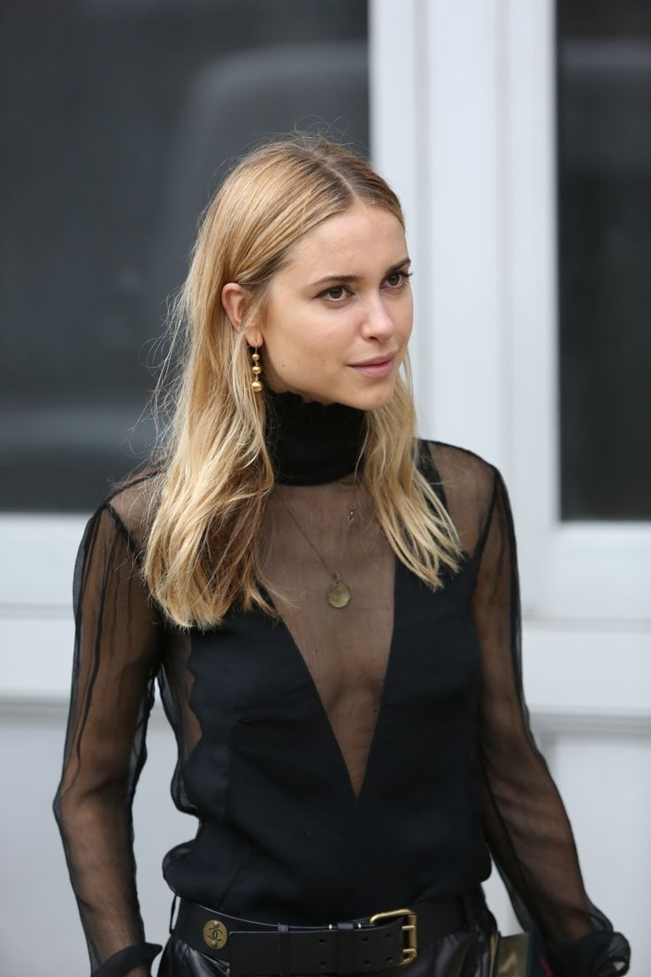 Pernille wearing a mesh insert knit, so chic for evening wear but great for the office too. To make it a little different, add your gold jewellery underneath and have it peeping through the sheer v neck.