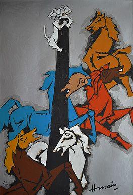 Maqbool Fida Husain - Horse (Appropriation) @ Serigraphs III: M F Husain | StoryLTD.com I #Indianart #MFHusain #Modern art