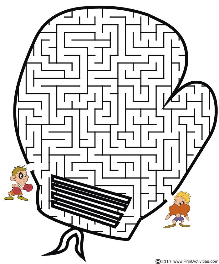 Get the boxer to through the boxing glove shaped maze to