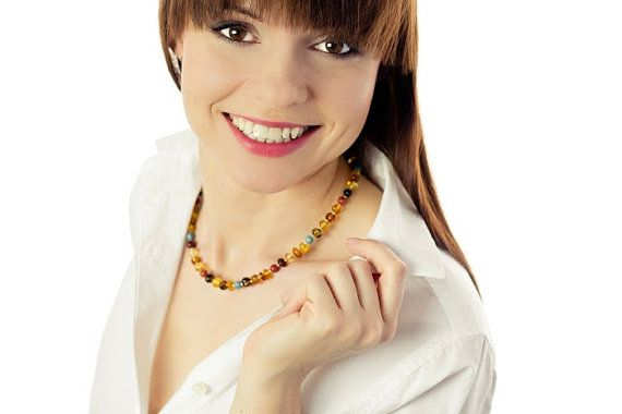 Amber Necklace Coral Amber Turquoise Necklace Colourful by KARUBA