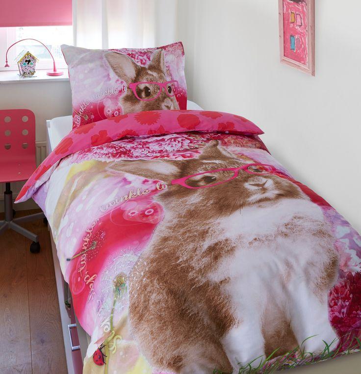 Dreamhouse Bedding For Kids Twinkel Konijn kinderdekbedovertrek kopen? Roze dekbedovertrek met tekstuele print en foto-afdruk van een konijn