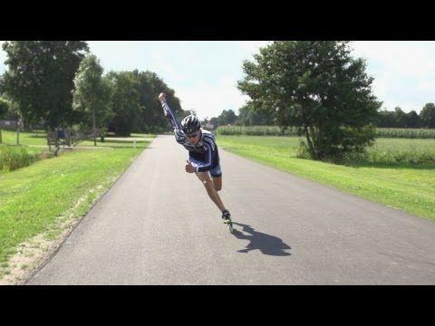Inline Skate Double Push Technique Slowmotion, Mark Horsten - YouTube
