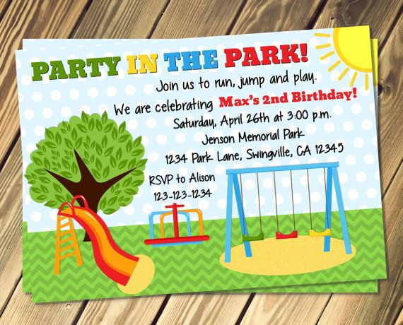 Park Birthday Party Invitation Print Your Own by vmiddleton5, $8.00