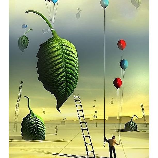 """You wanna #fly, you got to give up the shit that weighs you down."" ― Toni Morrison ❇   Marcel Caram  #fly #volare #voler #volar #DigitalArt #digital #surreal #surrealart #surrealism #art #creativity #instaart #leaves #balloons #freedom"