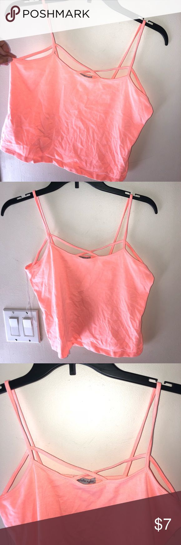Pink tank crop top! Bought from Charlotte Ruuse size large! It is a crop top and perfect for the summer. Never worn, only tried on. Charlotte Russe Tops Crop Tops