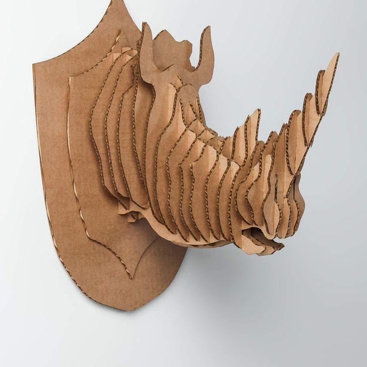 Cardboard Taxidermy Rhino Head
