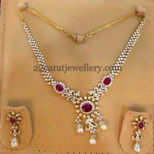 Jewellery Designs: Diamond Set in Simple Style