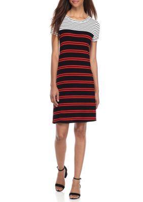Calvin Klein Women's Short Sleeve Striped T-Shirt Dress - Black Tango - Xl