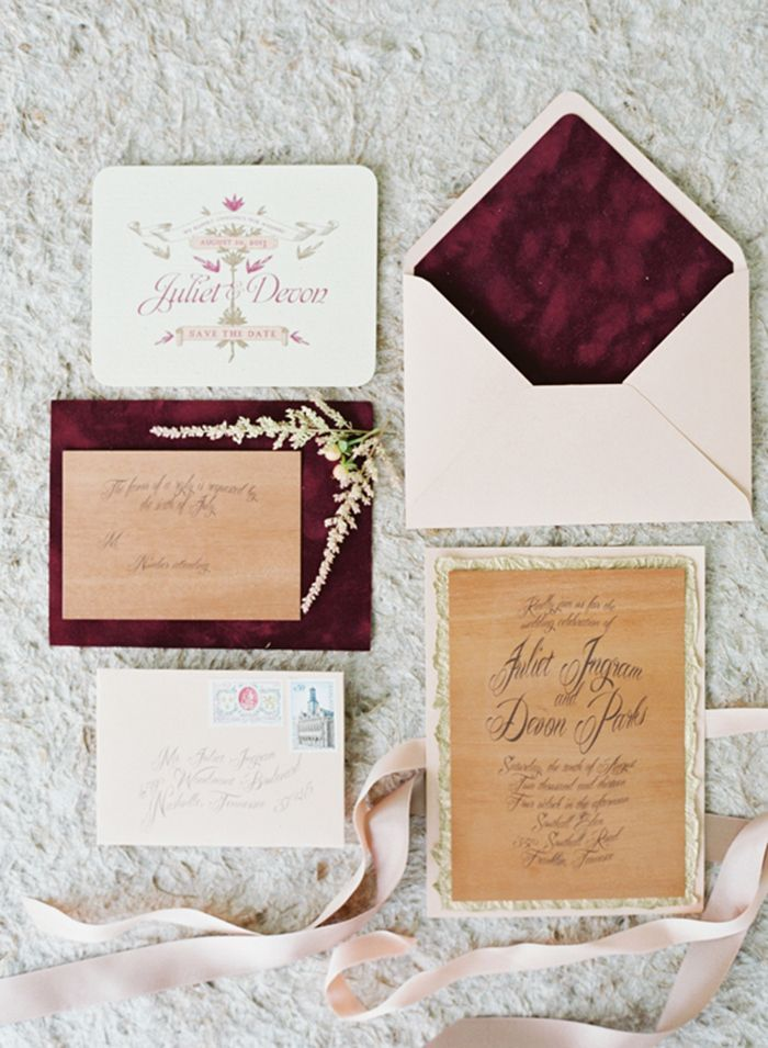 wedding invitation wording with no reception%0A Blush and Burgundy Velvet Wedding Invitations