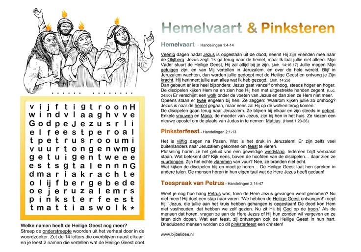 woordzoeker Hemelvaart en Pinksteren  www.bijbelidee.nl