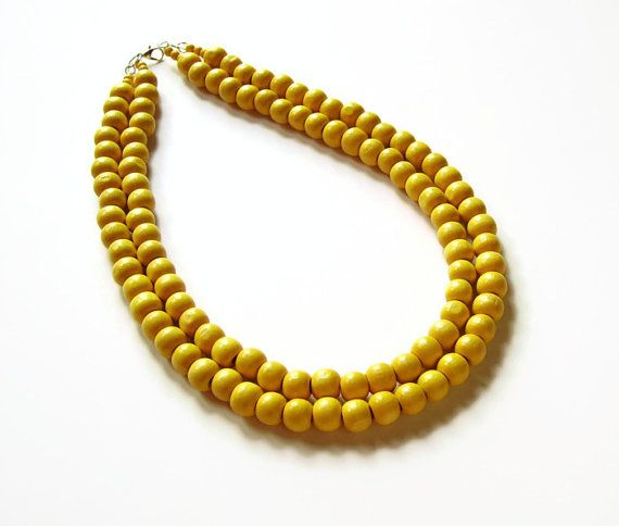 Yellow bead wood necklace by AellaJewelry, $22.00