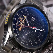Tevise marca Tourbillon Chrono relógio Men relógio mecânico automático homens de aço inoxidável relógios de pulso militar Relogio Masculino