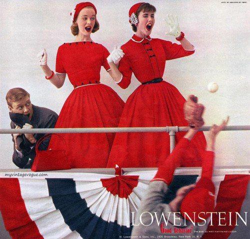 Красный цвет в моде 1950-х гг.