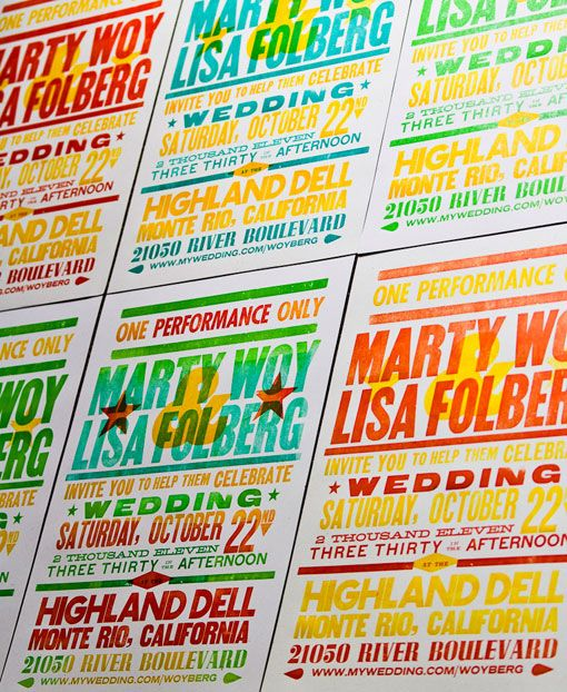 wedding invites in the style of old time concert posters! Love it and the colors!
