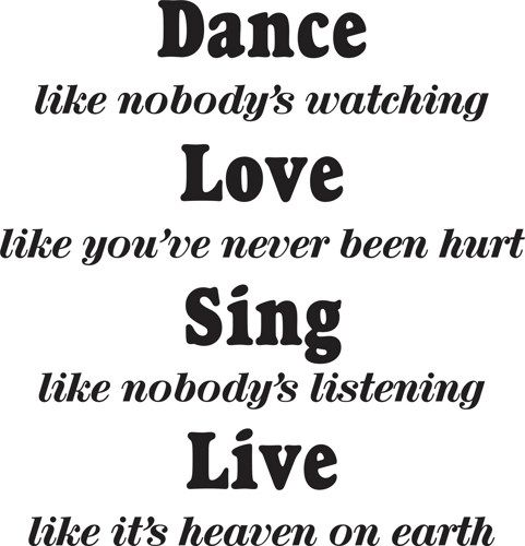 Dance like nobody 39 s watching quote wall decal sticker teen for Decor you adore facebook