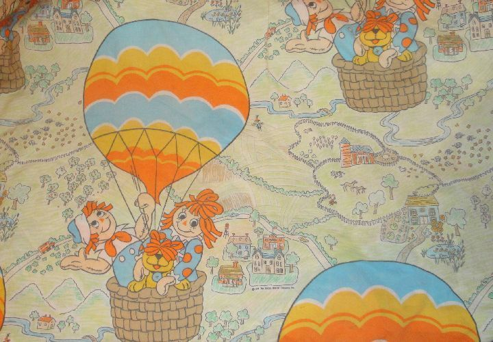 RARE VINTAGE RAGGEDY ANN AND ANDY TWIN FITTED BED SHEET FABRIC HOT AIR BALLOON  #Pacific