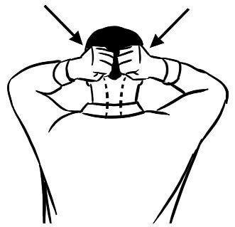 Сожмите пальцы рук так, чтобы получились свободные кулаки. Используя плоскую ладонную сторону кулаков, постукивайте по области основания черепа, как на рисунке 1.Продолжайте постукивать лёгкими движе…