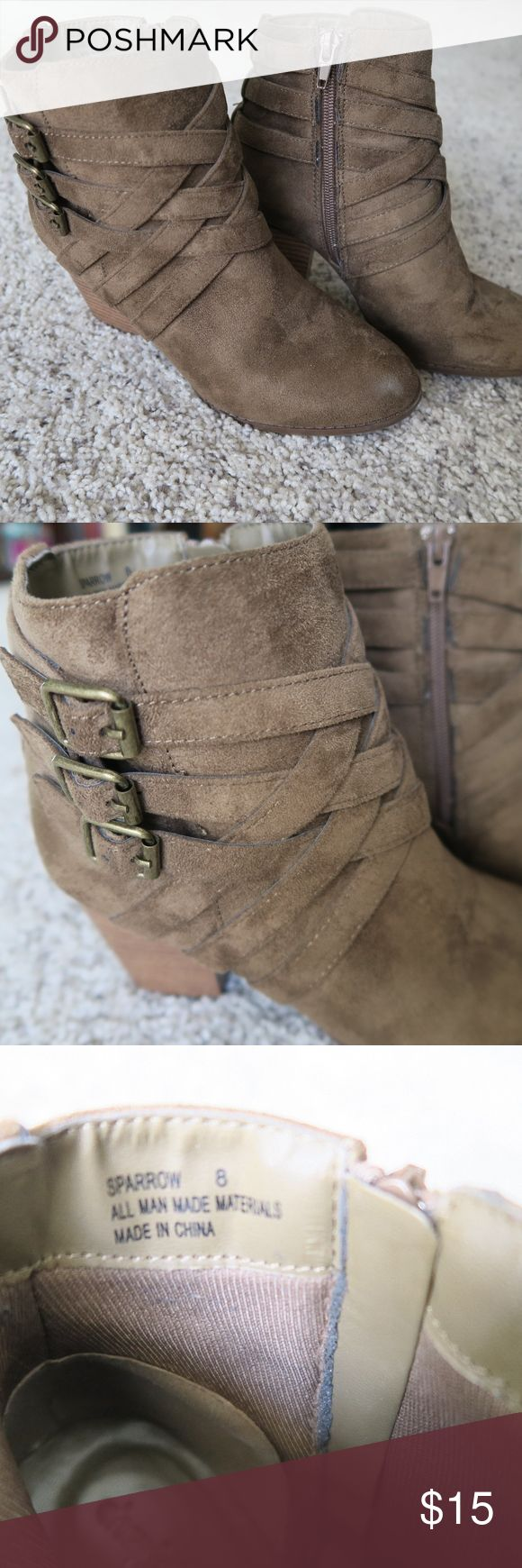 Criss Cross Boots - Size 8 Criss cross detailed boots from Charlotte Russe. Suede material. Sort of a green/brown color. Great condition. Slight wear shown on bottoms of the shoes, around the zippers and one white mark shown in the last photo on the right shoe. Thumb nail shown as size reference. Make me an offer. No trades. Charlotte Russe Shoes Ankle Boots & Booties