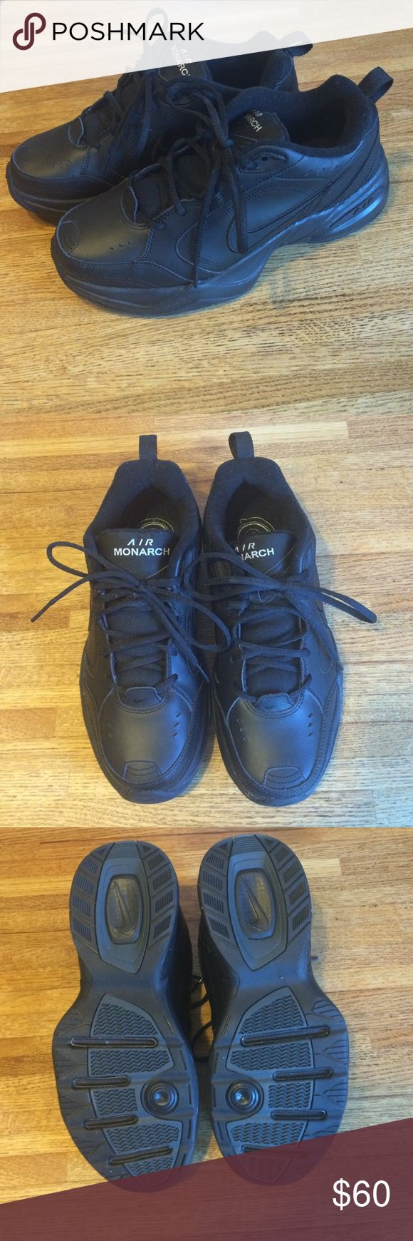 Nike air monarch sneakers All black nike sneaker with black laces. Air monarch, full length air. My dad got these but never even wore them, just don't have the box. These are brand new so I'm pretty firm on the price but will accept reasonable offers. Nike Shoes Athletic Shoes