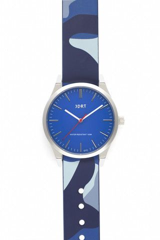 Azure Face with Navy Camouflage Leather Watch Band