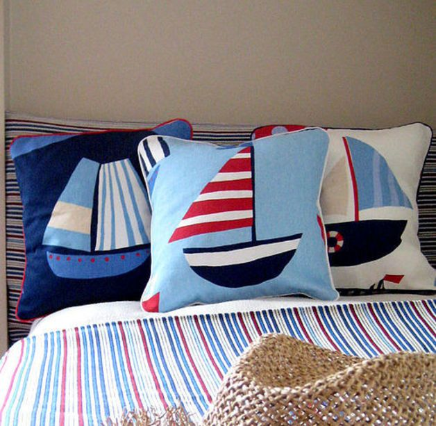 Accessory for childrens rooms with nautical theme. The cushion cover is made from a quality interiors fabric and makes a lovely addition to any nursery. Perfect for sailors and travellers - unique home accessories via en.dawanda.com