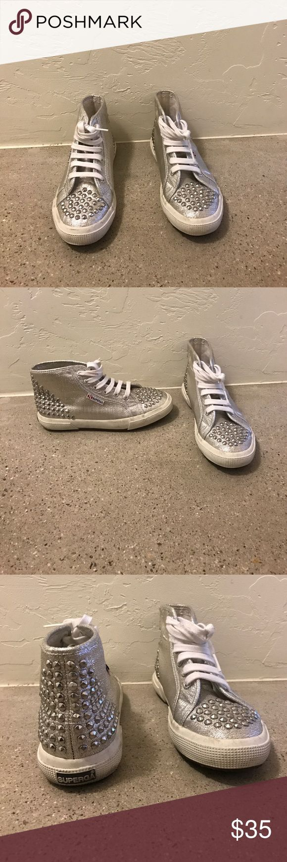 Superga Silver Studded Sneakers Silver with front and back studs. Size 6. *** All items will be removed by Thursday 5/18/17 and donated. Make me an offer! Superga Shoes Sneakers