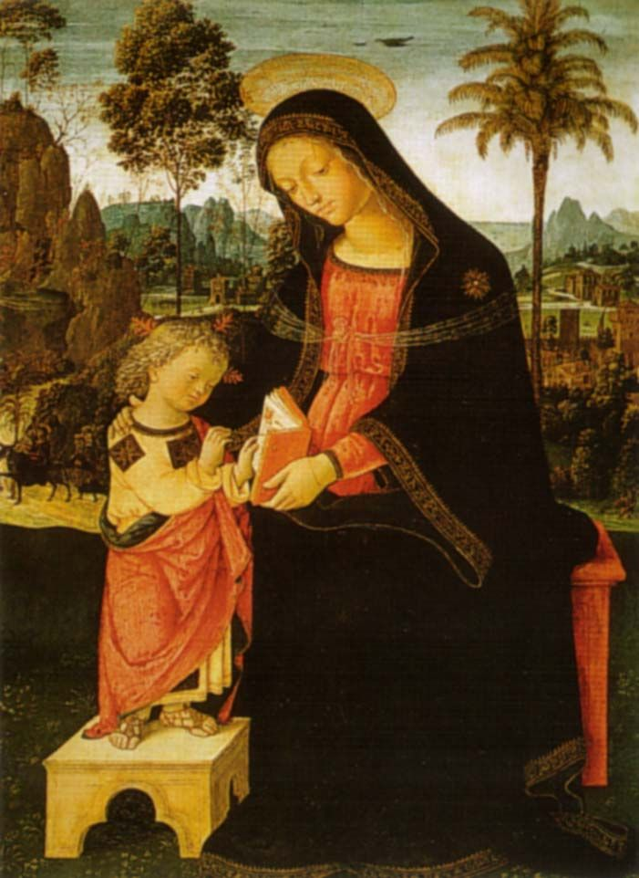 Madonna with Writing Child and Bishop - Pinturicchio - WikiPaintings.org
