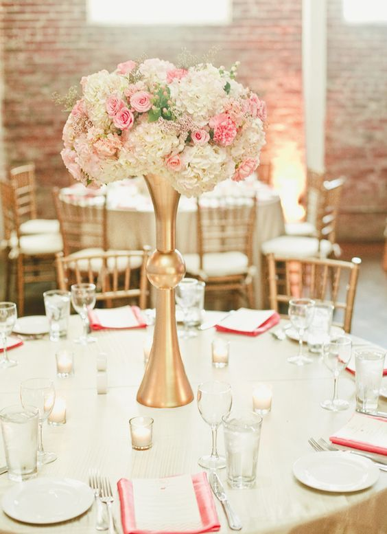 Gold and blush wedding reception centerpiece