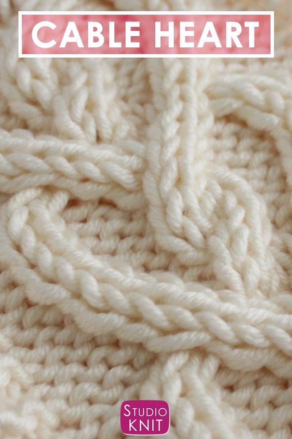 Tricotar um lenço de coração de cabo