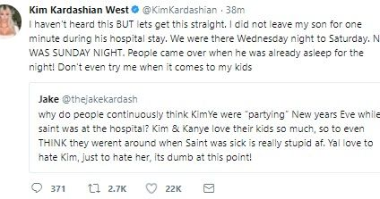 'Don't even try me when it comes to my kids' - Kim K dismisses rumours that she abandoned ill son to party with Kanye West